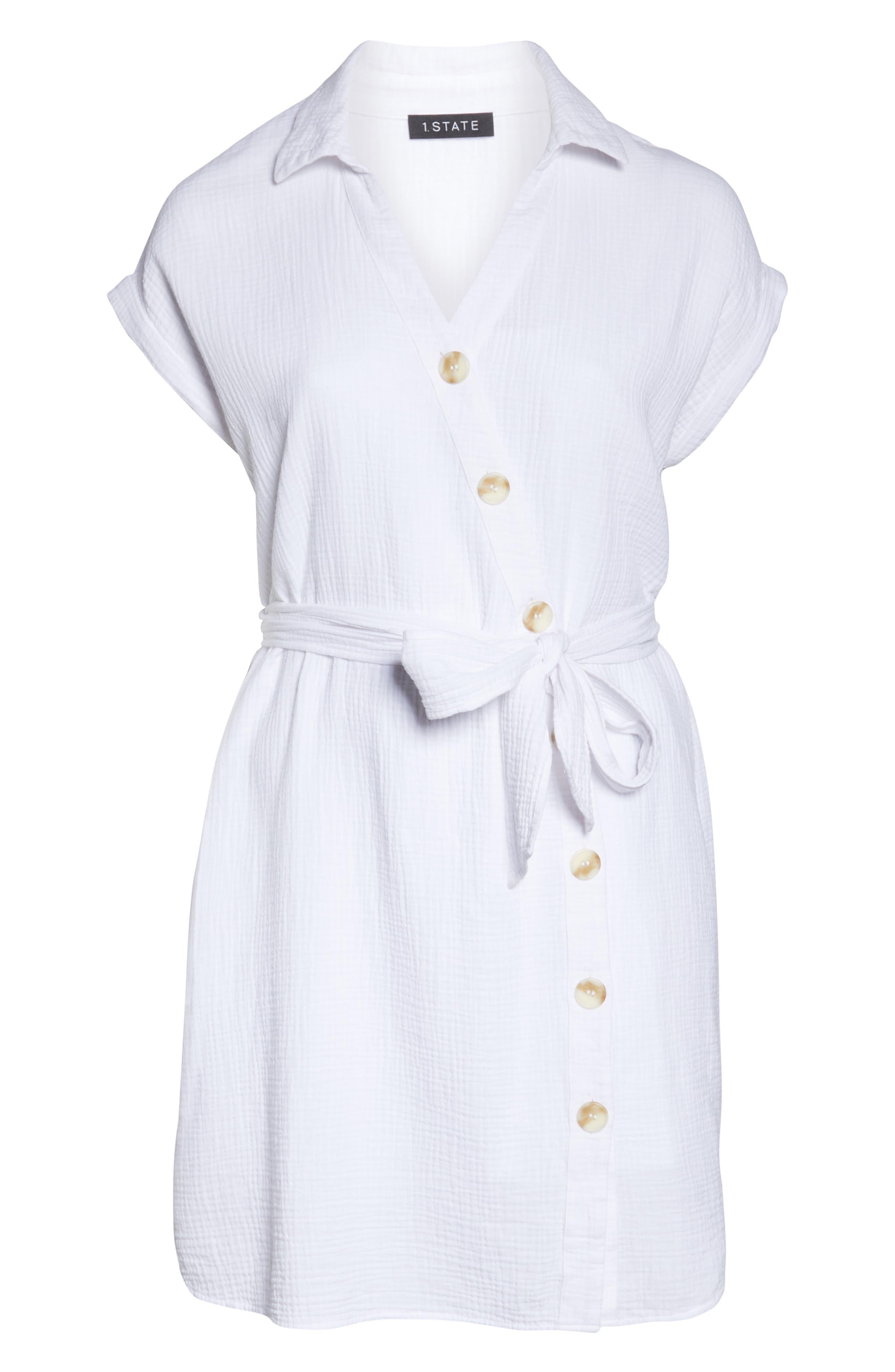 ,                             Asymmetrical Button Down Shirtdress,                             Alternate thumbnail 6, color,                             145 ULTRA WHITE