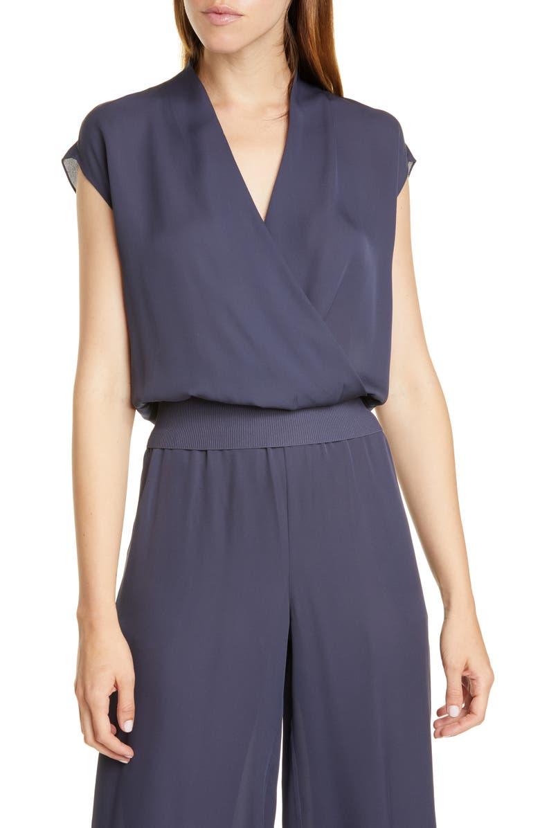 THEORY Silk Wrap Top, Main, color, BLUE GREY