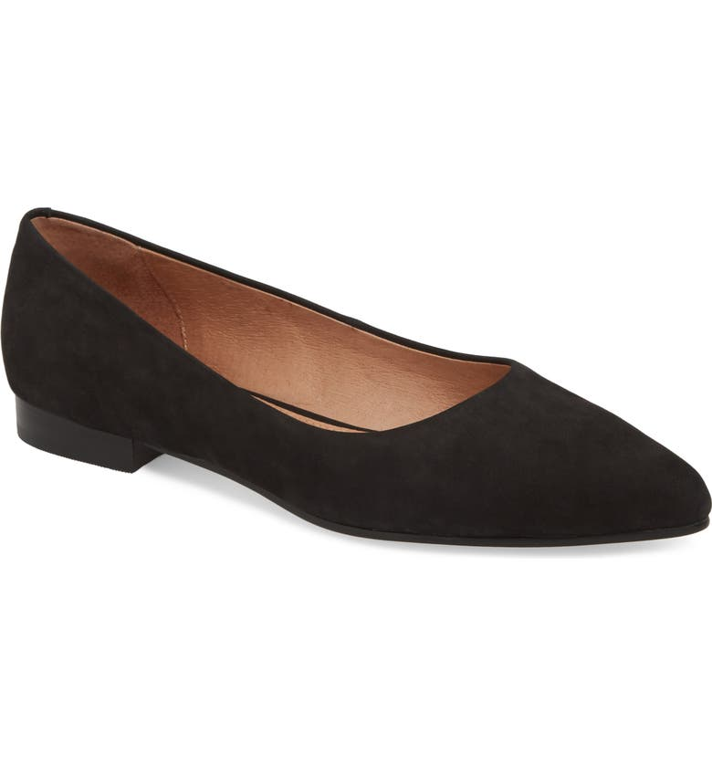 CASLON<SUP>®</SUP> Luna Pointy Toe Flat, Main, color, BLACK NUBUCK