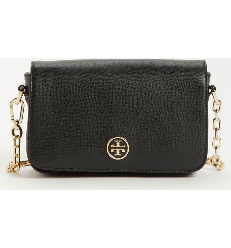 TORY BURCH 'Robinson - Mini' Saffiano Leather Crossbody Bag, Main, color, 001