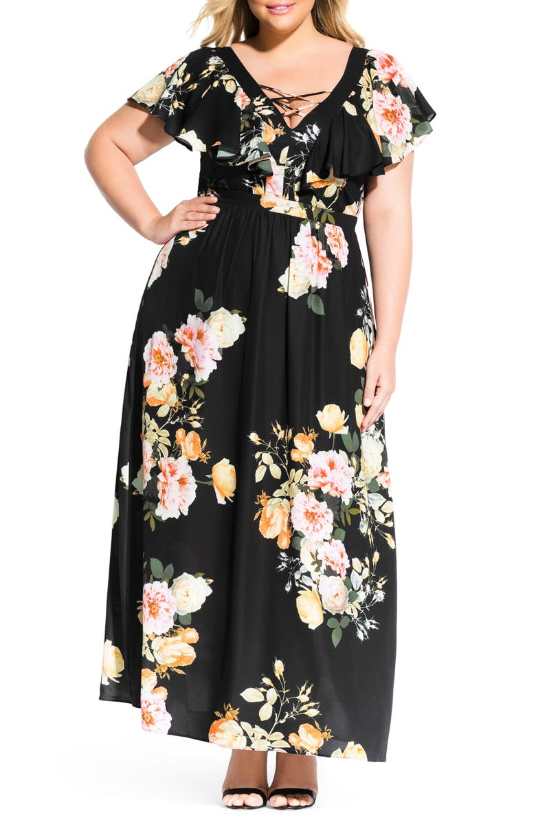 CITY CHIC Tuscan Rose Maxi Dress, Main, color, TUSCAN ROSE