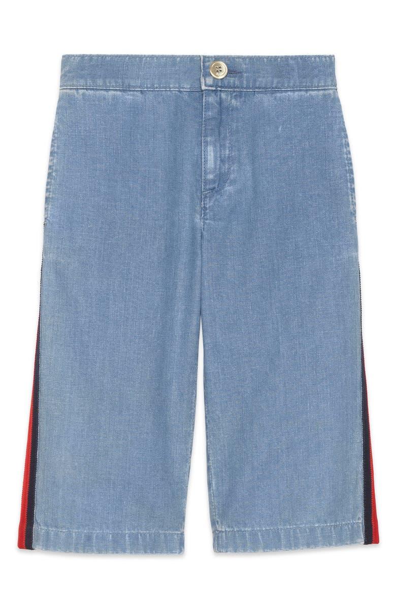 GUCCI Web Stripe Jeans, Main, color, LIGHT BLUE/ MULTI
