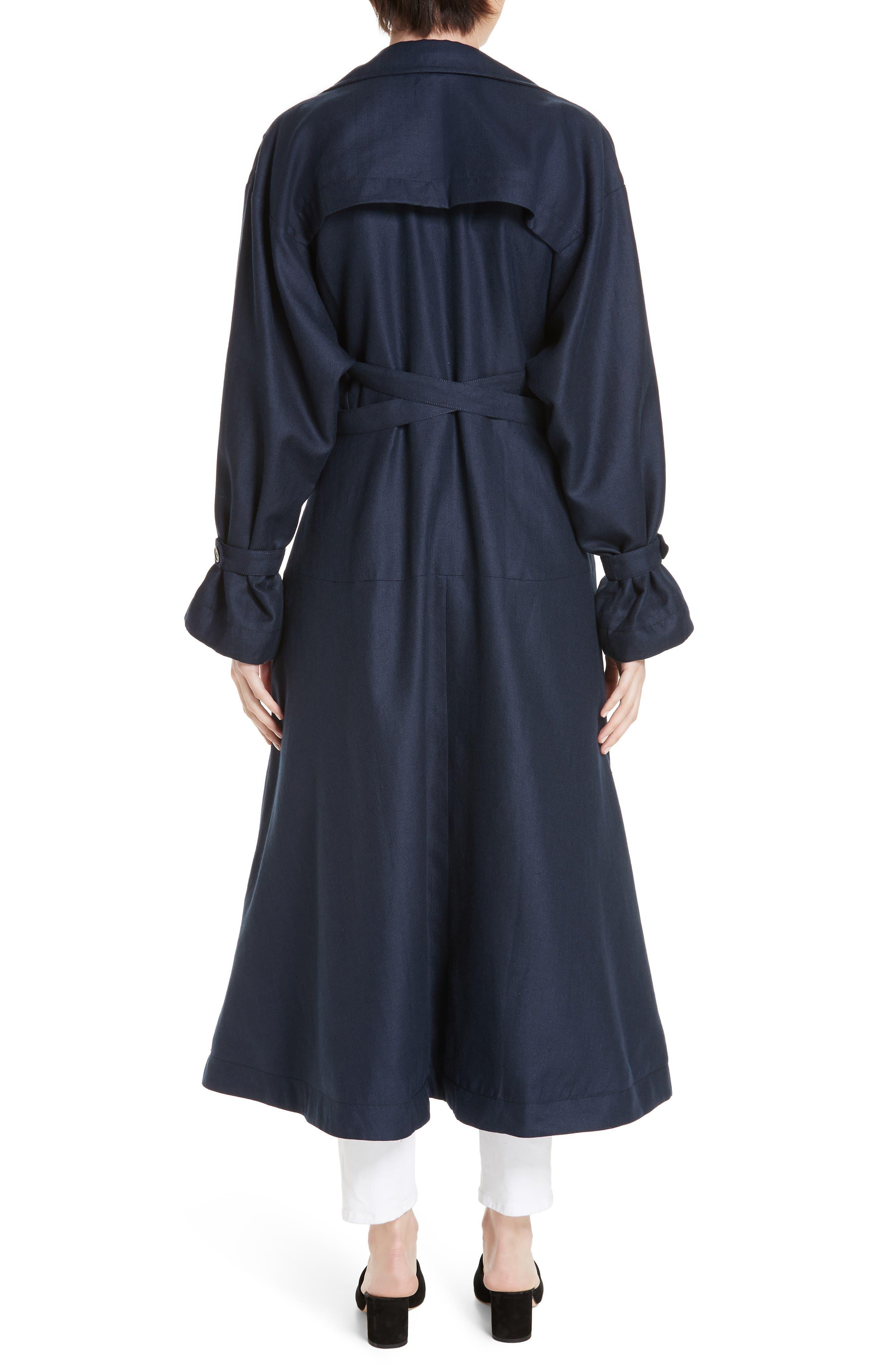 ,                             Carved Wool & Linen Coat,                             Alternate thumbnail 2, color,                             NAVY HERRINGBONE LINEN