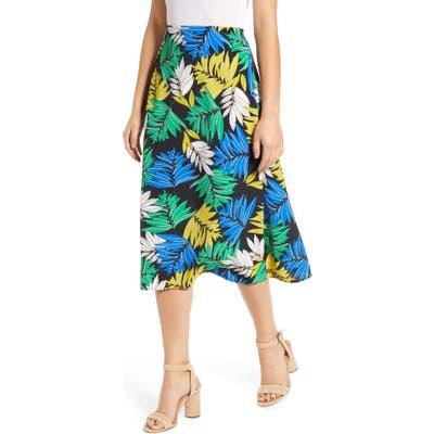 Loveappella Palm Print Midi Skirt, White