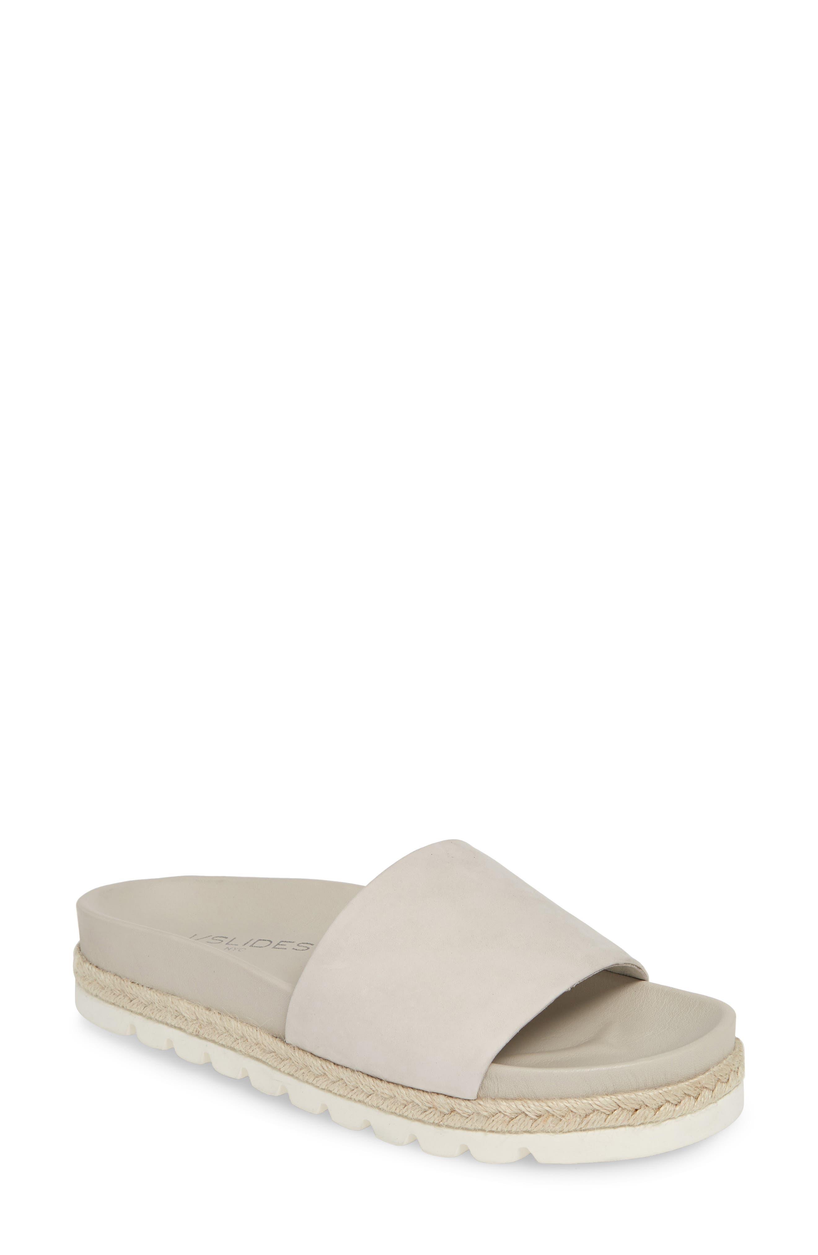 Jslides Espadrille Slide Sandal, White