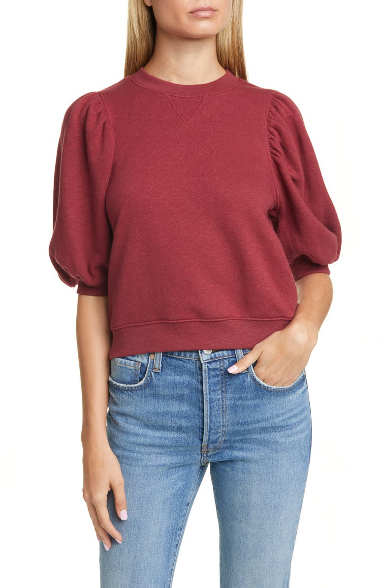 ULLA JOHNSON Rami Puff Sleeve Sweatshirt, Main, color, BORDEAUX