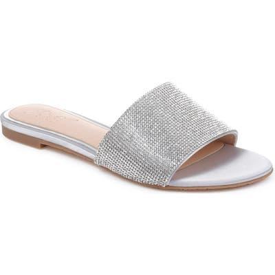 Jewel Badgley Mischka Khaleesi Crystal Slide Sandal- Metallic
