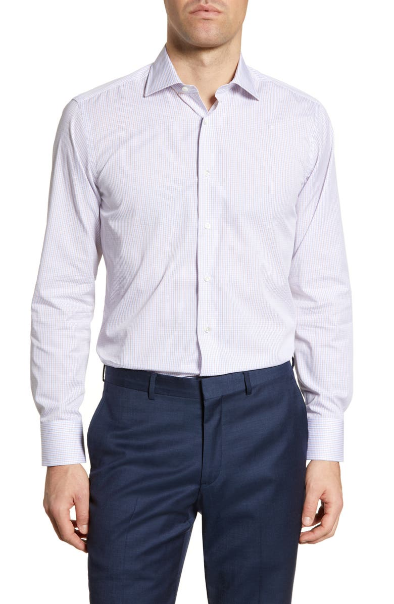CANALI Regular Fit Check Dress Shirt, Main, color, WHITE MULTI