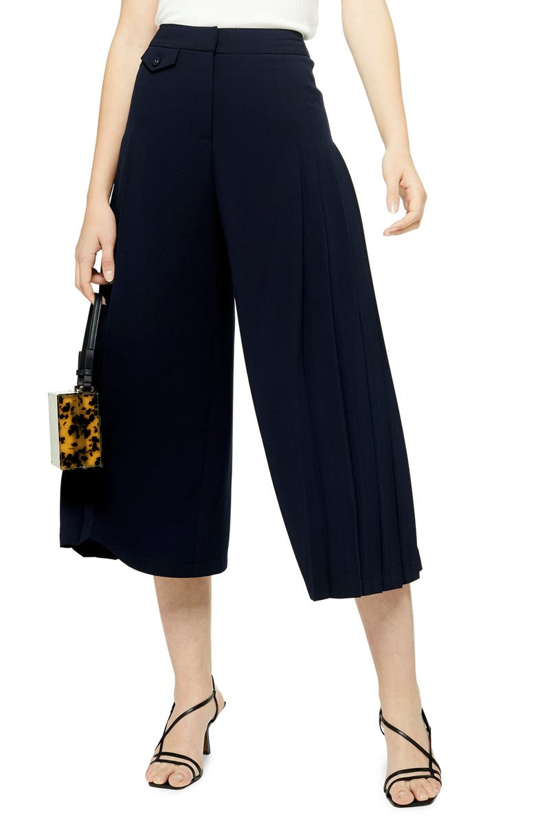 TOPSHOP Crop Wide Leg Trousers, Main, color, NAVY BLUE