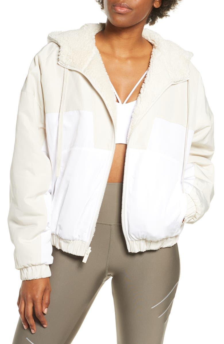 ALO Duality Reversible Faux Shearling Jacket, Main, color, BONE/ WHITE