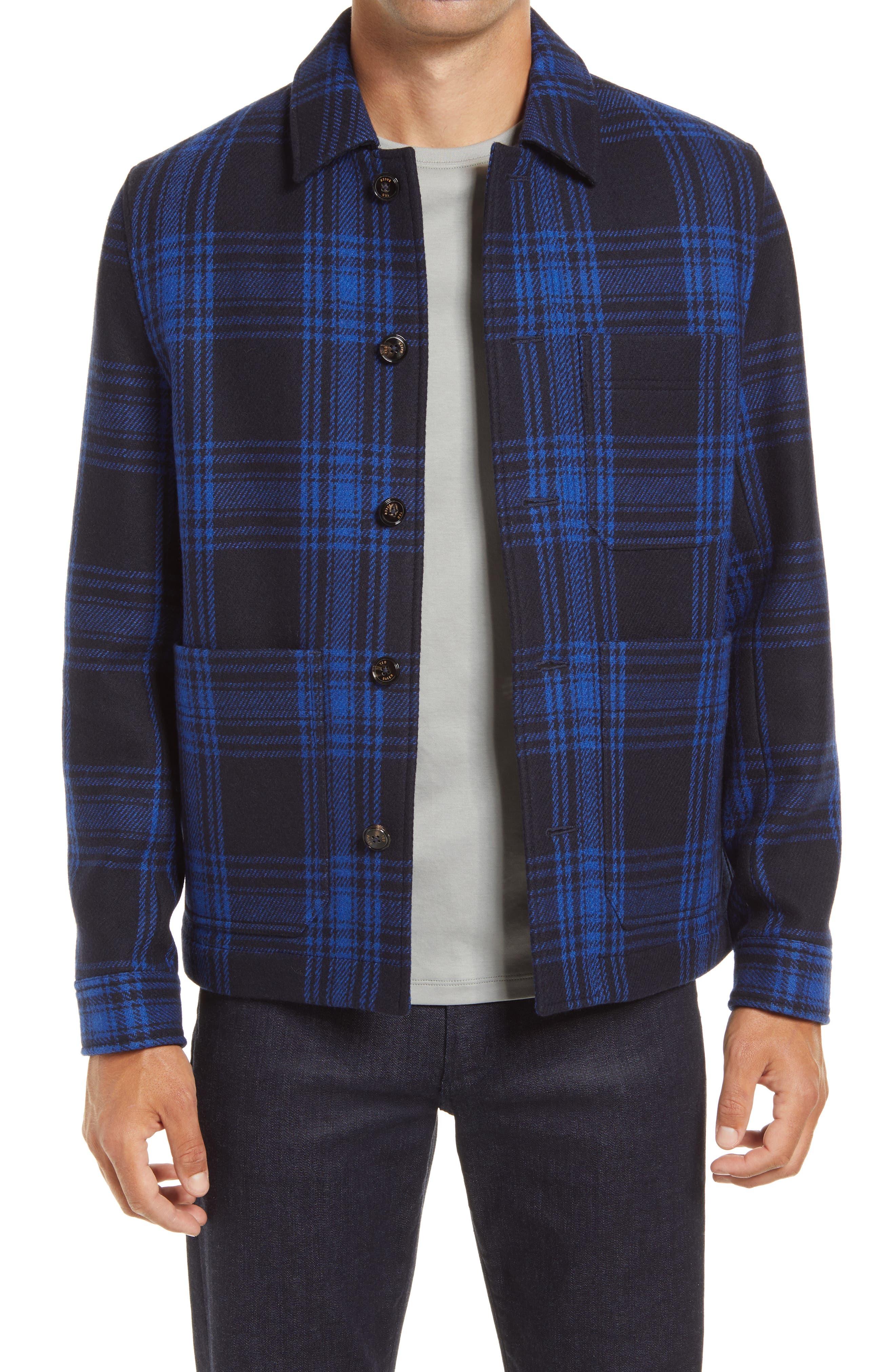 Men's Vintage Jackets & Coats Ted Baker London Rift Plaid Wool Blend Shirt Jacket Size 6xxl - Navy at Nordstrom Rack $134.97 AT vintagedancer.com
