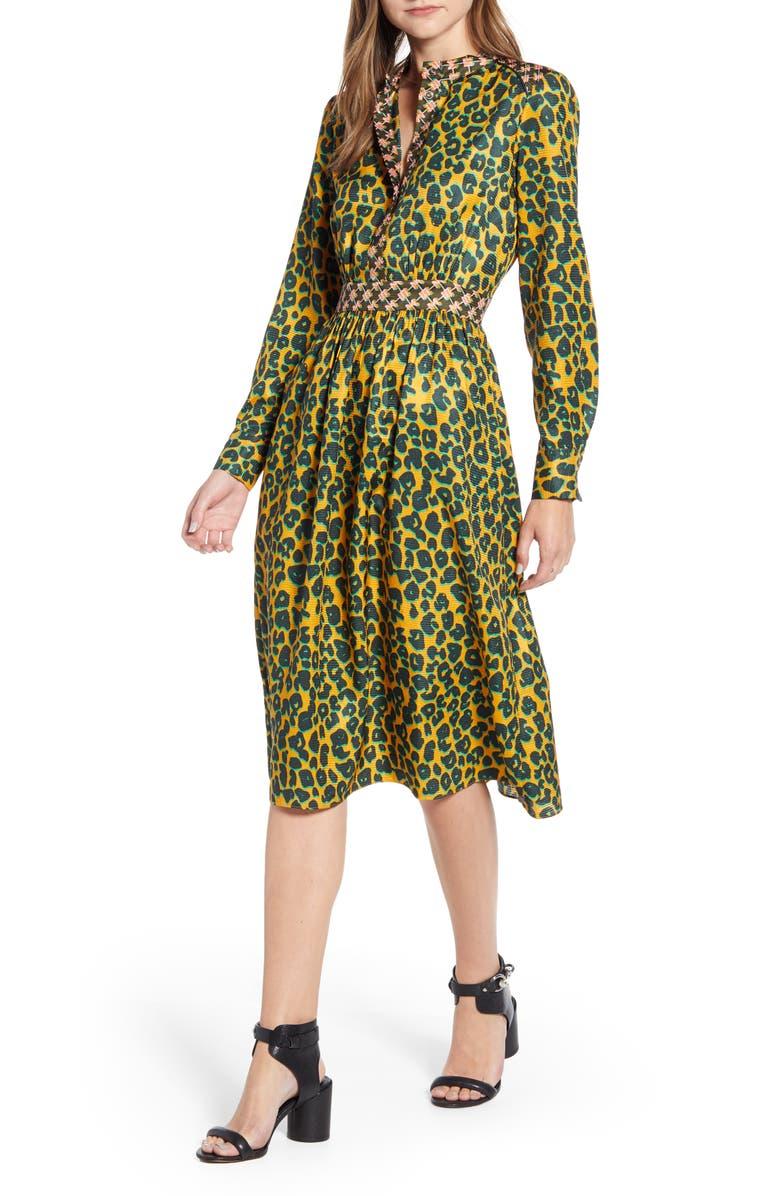 SCOTCH & SODA Long Sleeve Mixed Print Midi Dress, Main, color, 200