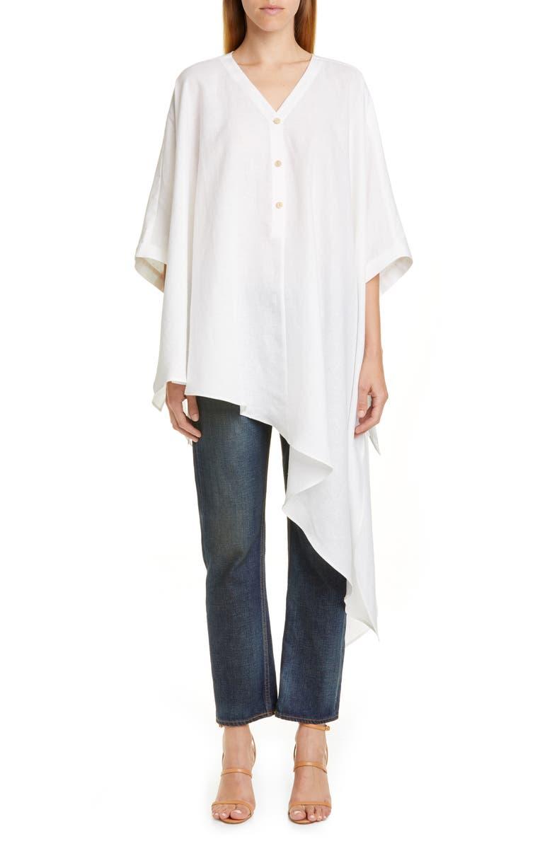 PALMER/HARDING Havana Asymmetrical Linen Shirt, Main, color, WHITE LINEN