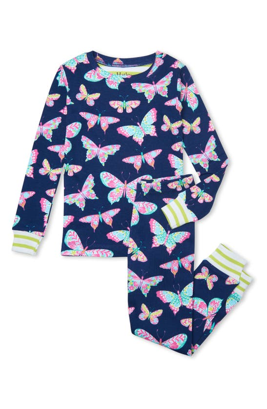 Hatley KIDS' DELIGHTFUL BUTTERFLIES ORGANIC COTTON FITTED TWO-PIECE PAJAMAS