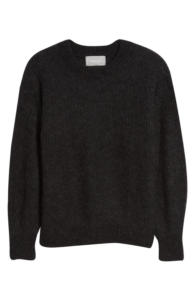EVERLANE The Oversize Alpaca Blend Crewneck Sweater, Main, color, HEATHER BLACK