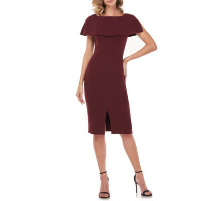 Kay Unger Sloan Popover Sheath Dress, Burgundy