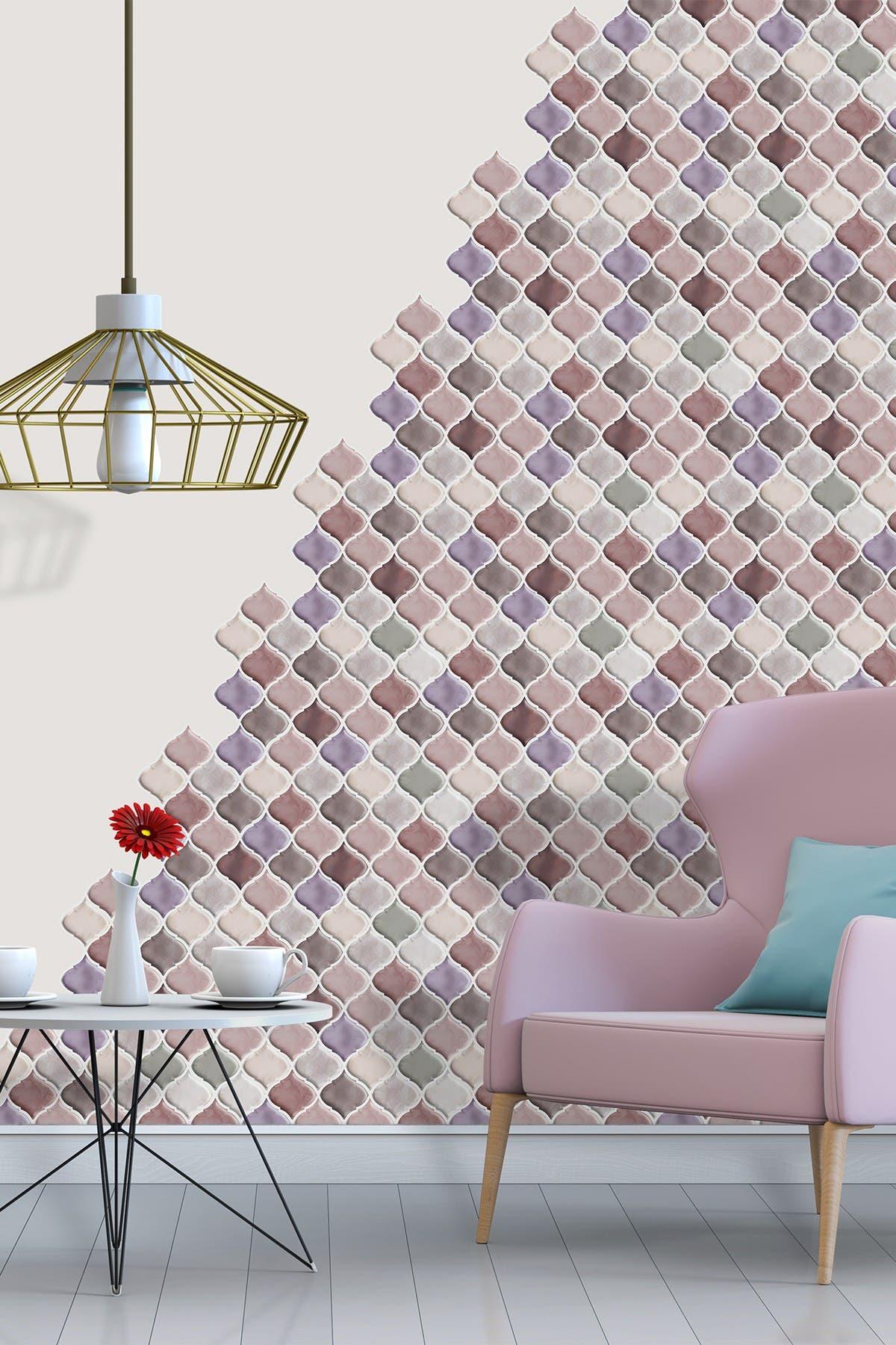 "Image of WalPlus Arabesque Old Rose Mocha 3D Sticker Tile - 11 x 8"""