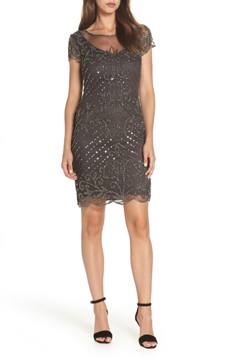 PISARRO NIGHTS Beaded Illusion Yoke Sheath Dress, Main, color, GREY