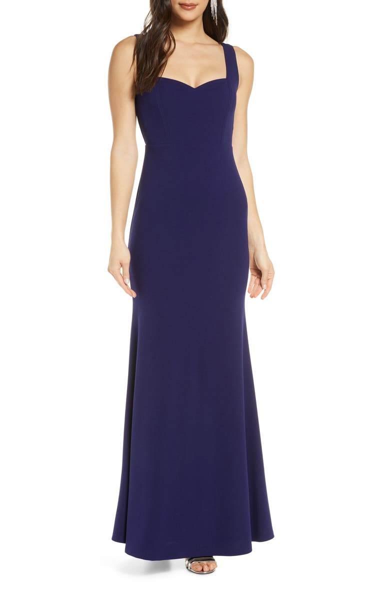 LULUS Sweetest Thing Stretch Crepe Trumpet Gown, Main, color, NAVY