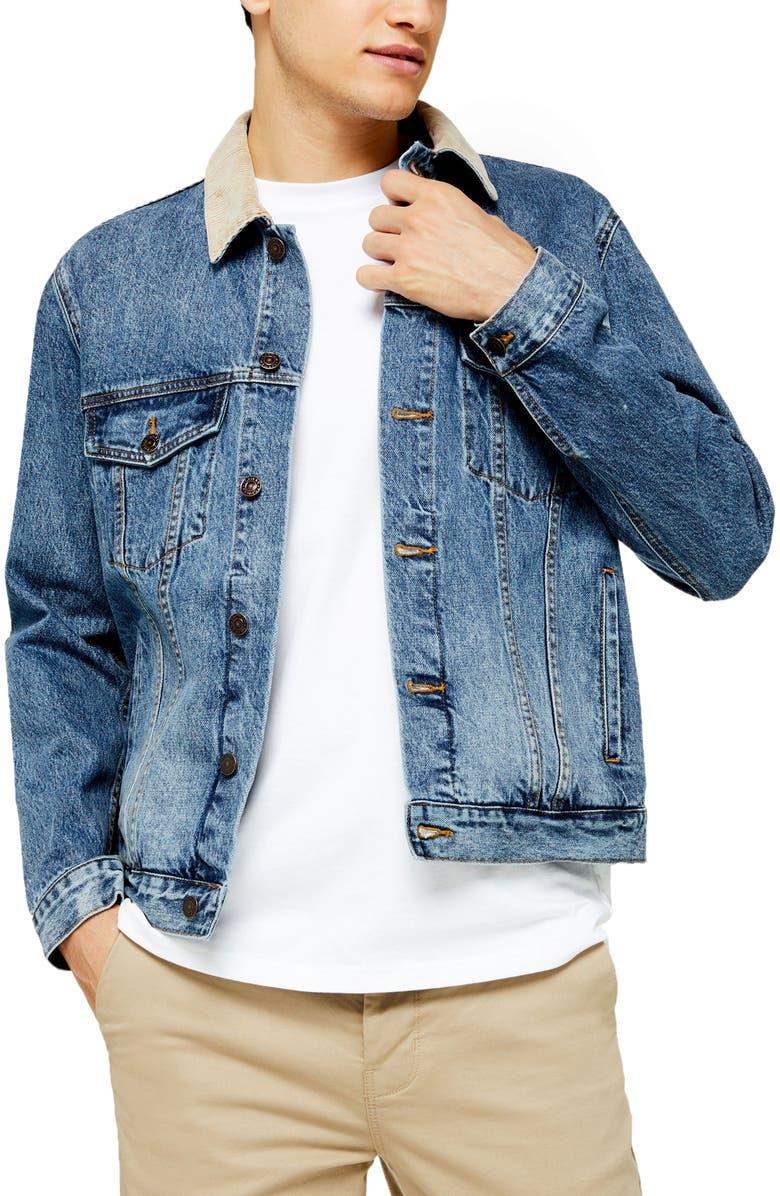 TOPMAN Corduroy Collar Classic Fit Denim Jacket, Main, color, DARK BLUE