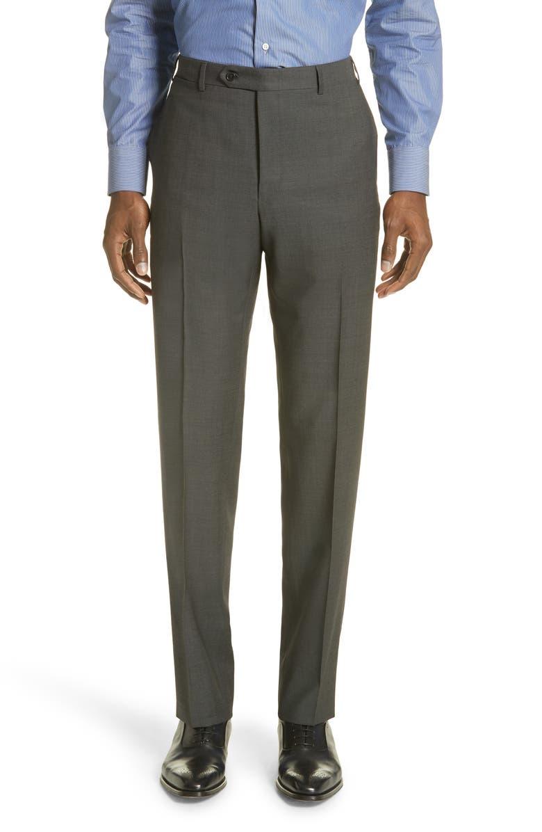 CANALI Flat Front Dot Wool Dress Pants, Main, color, DARK GREY