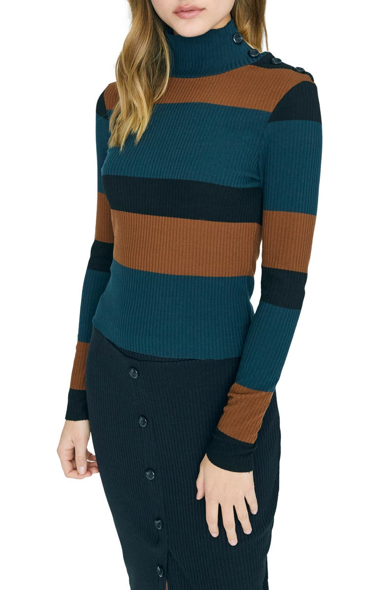 SANCTUARY Mandy Button Detail Mock Turtleneck Sweater, Main, color, JADE STRIPE