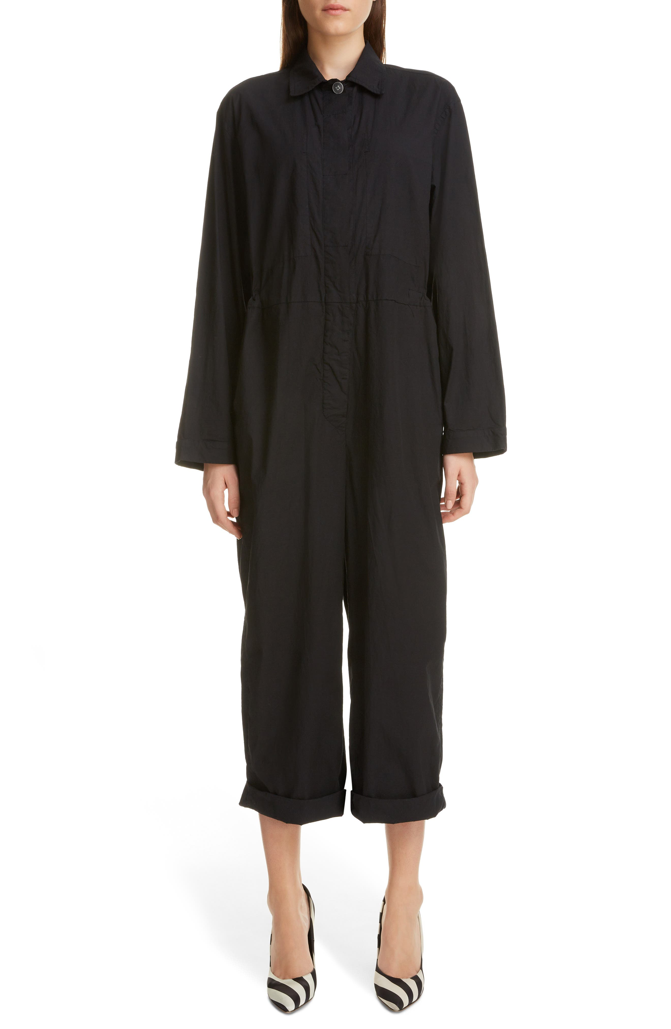 Dries Van Noten Suits Peanutty Stretch Cotton Jumpsuit