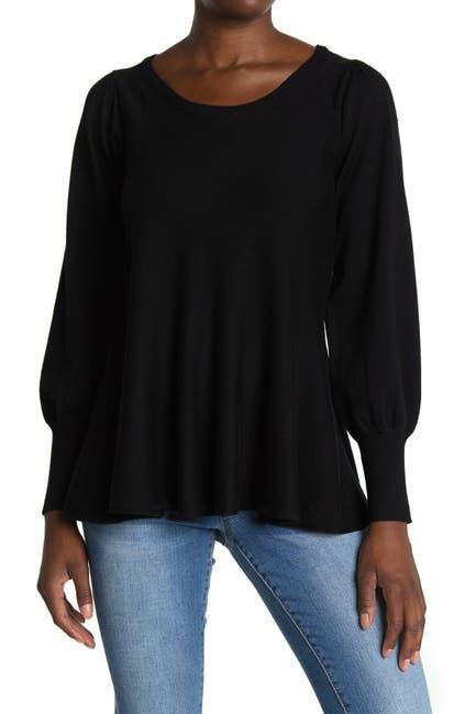 Image of Joan Vass Ballon Sleeve Knit Top