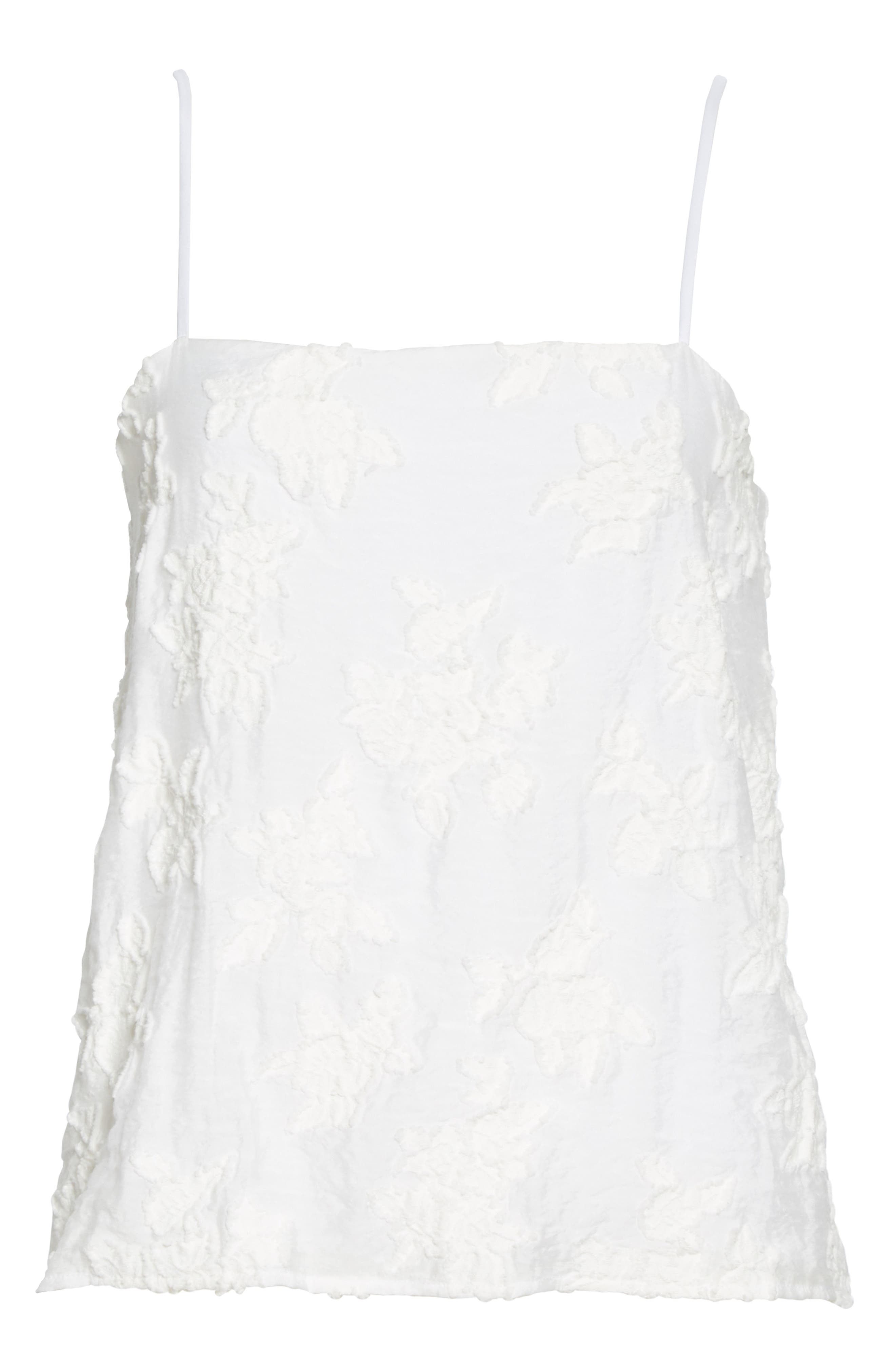 ,                             Textured Floral Camisole,                             Alternate thumbnail 6, color,                             OPTIC WHITE