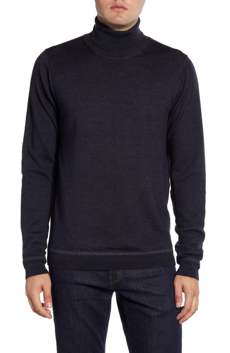 NORDSTROM SIGNATURE Merino Wool Garment Dye Turtleneck Sweater, Main, color, GREY SHADE