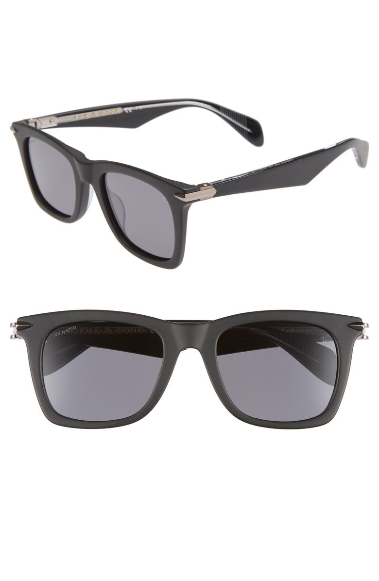 RAG & BONE 51mm Polarized Sunglasses, Main, color, MATTE BLACK