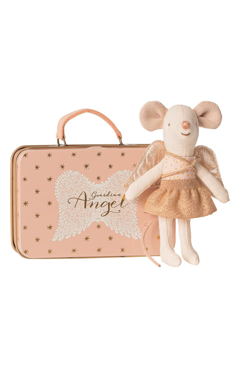 MAILEG Guardian Angel Mouse in Suitcase Stuffed Toy, Main, color, MULTI