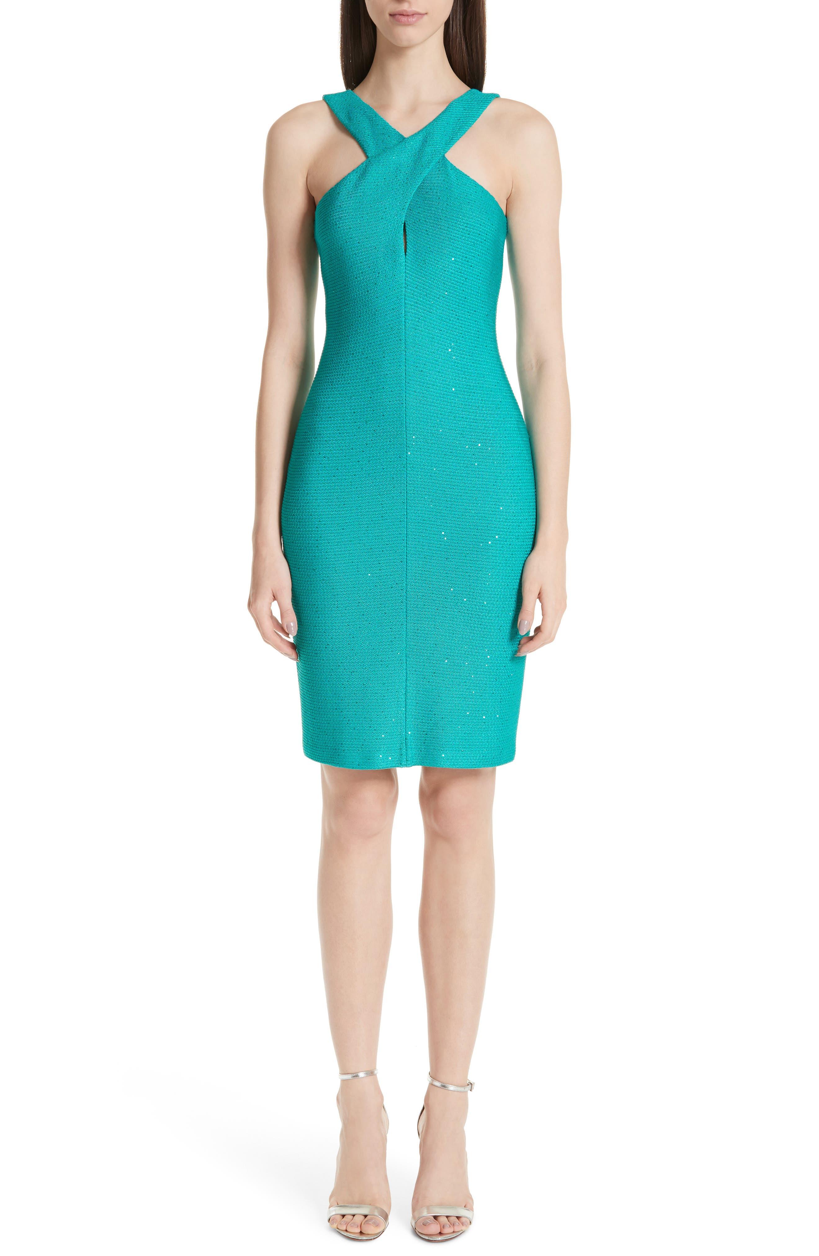 St. John Collection Blake Crisscross Neck Sequin Knit Dress