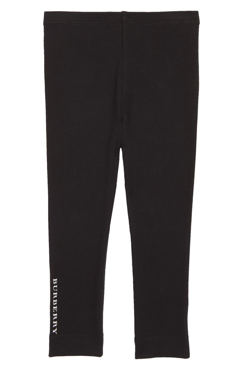 BURBERRY Logo Stretch Cotton Leggings, Main, color, BLACK