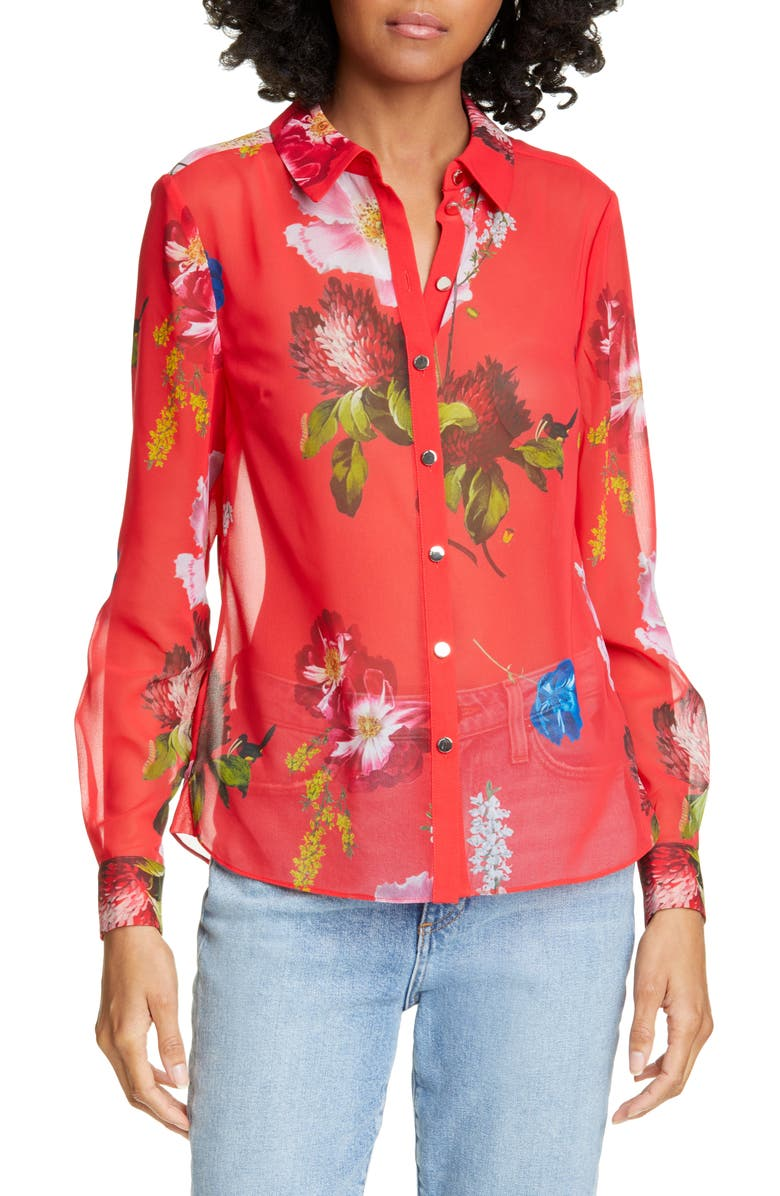 TED BAKER LONDON Eevilin Floral Chiffon Blouse, Main, color, 611