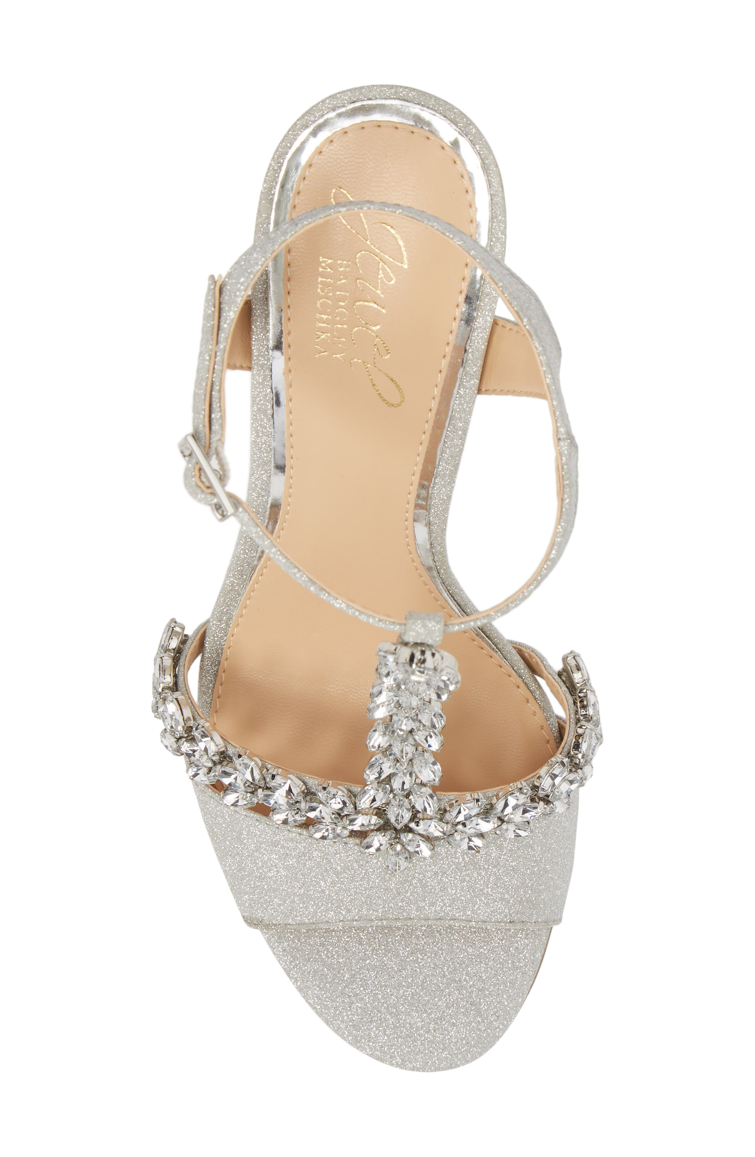 ,                             Maxi Crystal Embellished Sandal,                             Alternate thumbnail 5, color,                             SILVER GLITTER FABRIC