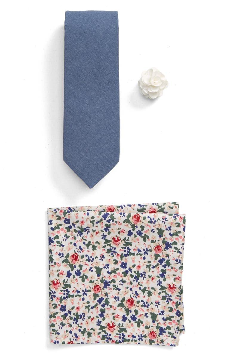 BESPOKE Chambray Tie, Lapel Pin & Pocket Square Gift Set, Main, color, 409