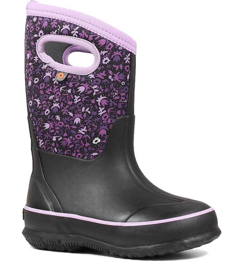 BOGS Classic Freckle Flower Insulated Waterproof Boot, Main, color, BLACK MULTI