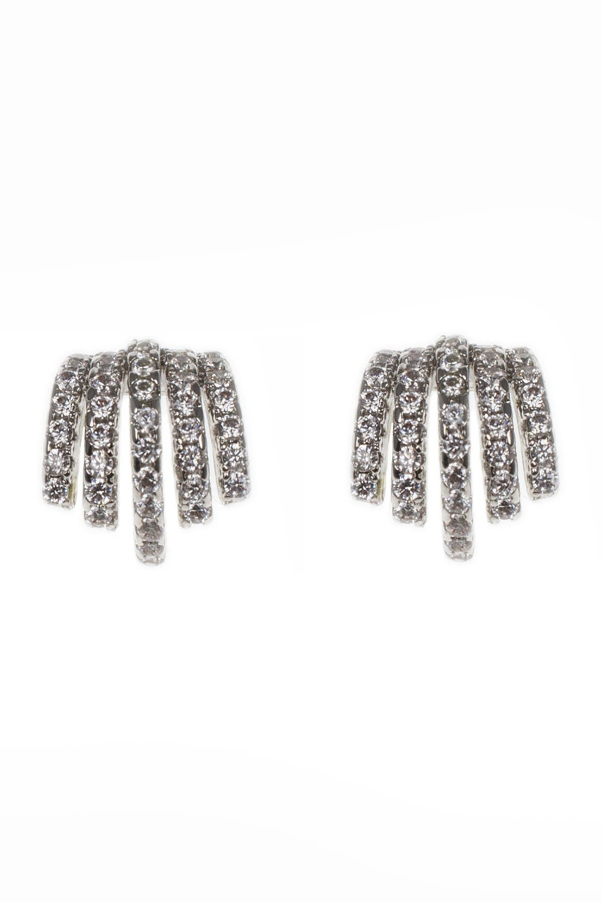 Image of CZ By Kenneth Jay Lane CZ Accent Huggie Claw Earrings