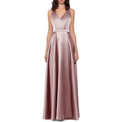Xscape Satin Gown, Beige