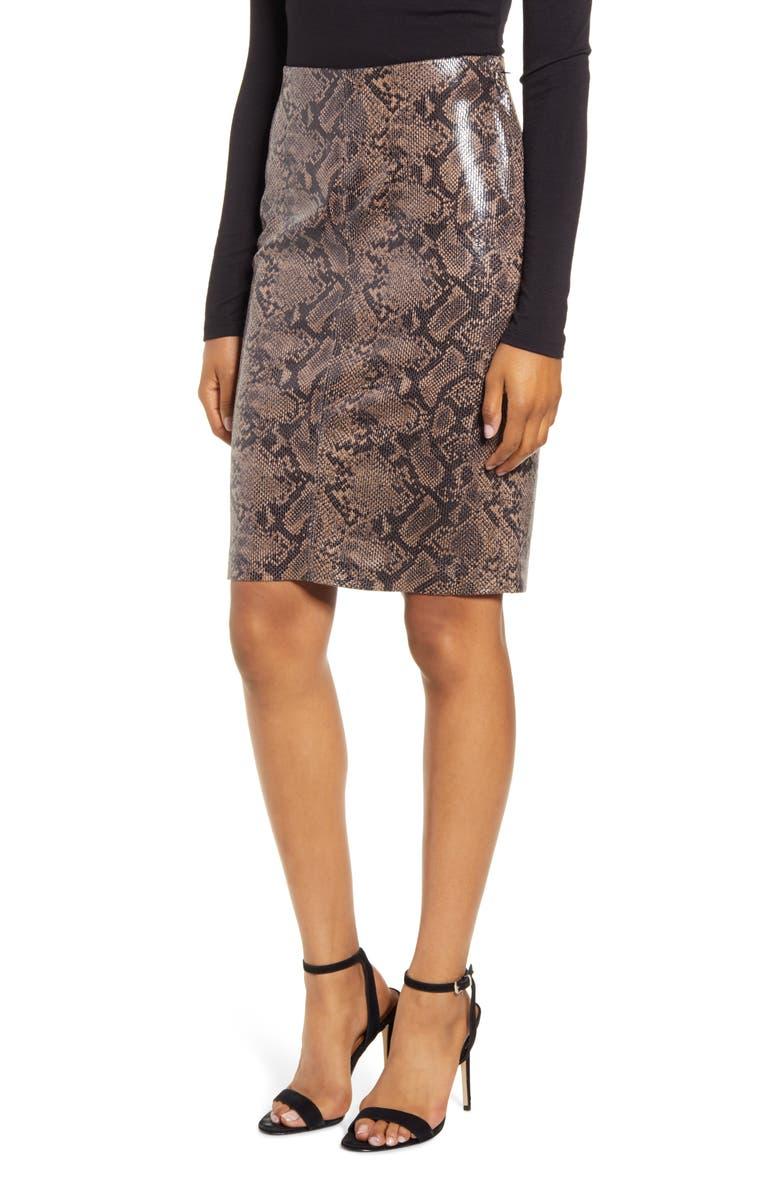 BLANKNYC Snakeskin Print Pencil Skirt, Main, color, 200