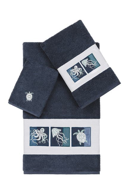 Image of LINUM HOME Ava 3-Piece Embellished Towel Set - Midnight Blue