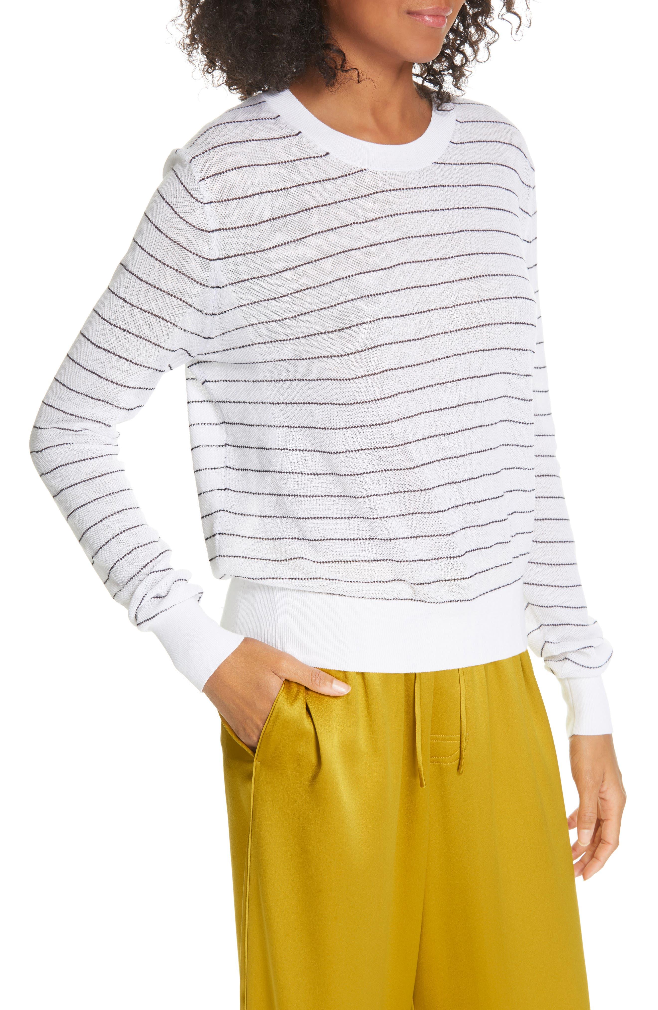 ,                             Stripe Long Sleeve Texture Knit Top,                             Alternate thumbnail 4, color,                             OPTIC WHITE/ NAVY