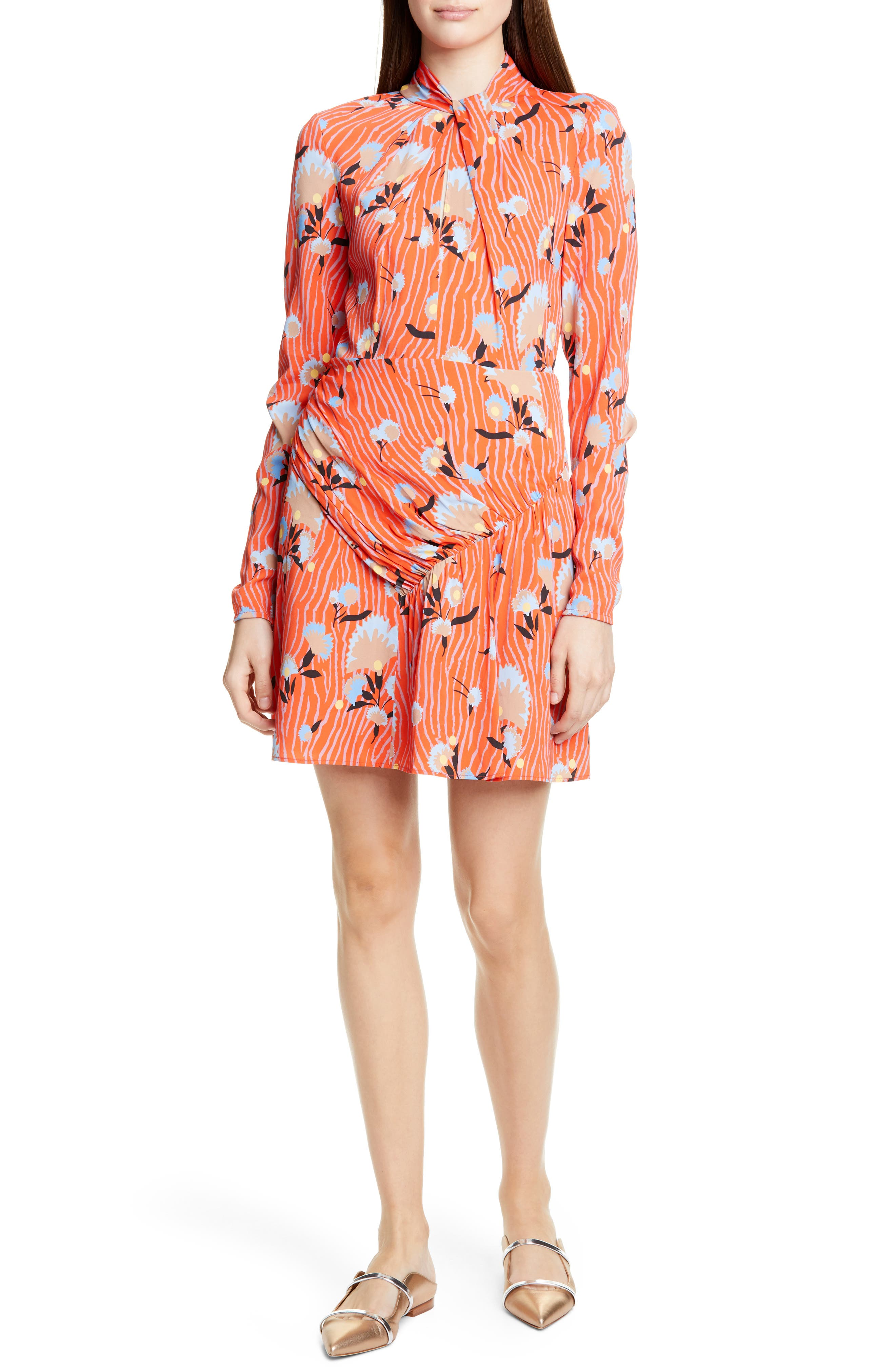 Self-Portrait Floral Long Sleeve Jersey Crepe Minidress, Red