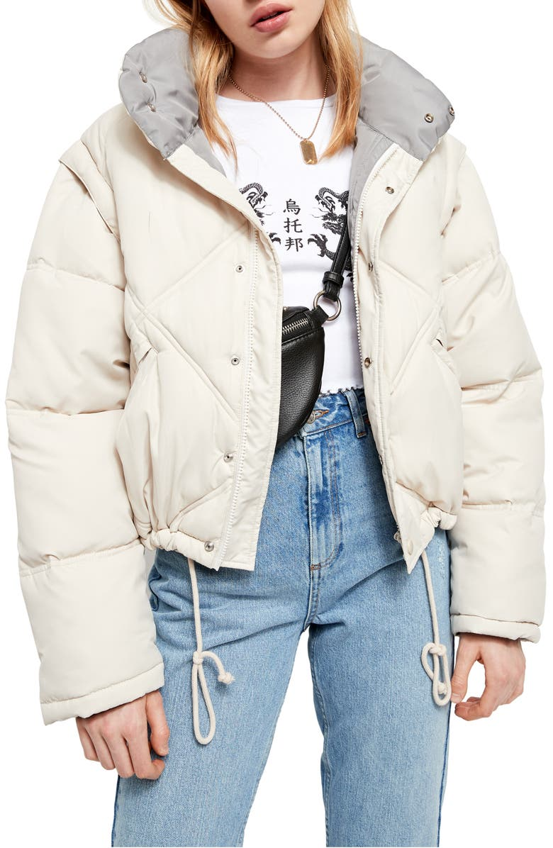 BDG URBAN OUTFITTERS Convertible Quilted Crop Puffer Coat, Main, color, ECRU