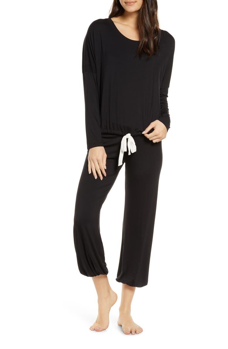 EBERJEY Vera Slouchy Pajamas, Main, color, BLACK/ IVORY
