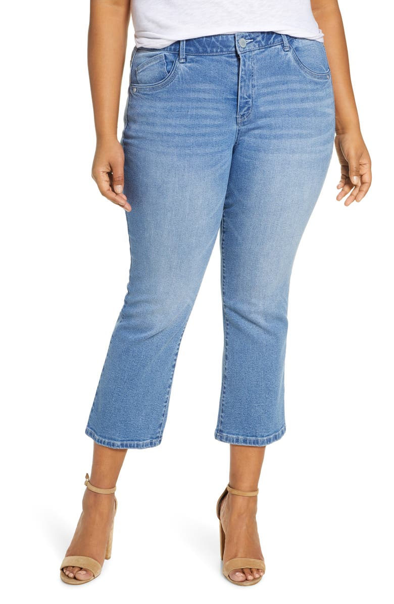 WIT & WISDOM High Waist Flare Jeans, Main, color, LIGHT WASH