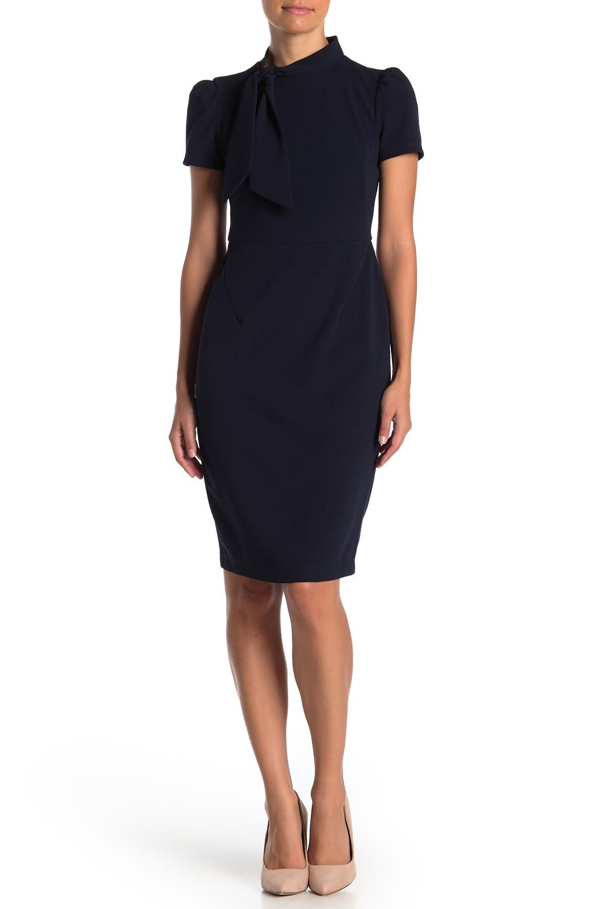 Image of Maggy London Neck Tie Short Sleeve Sheath Dress