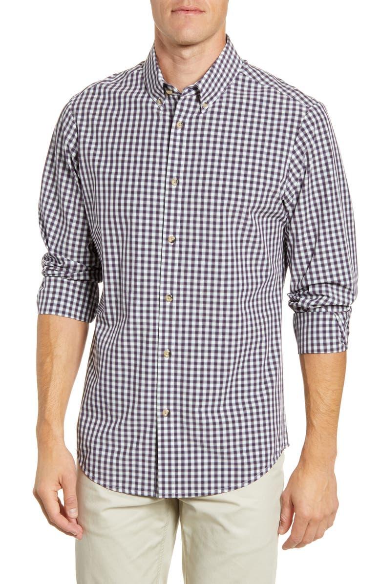 MIZZEN+MAIN Malloy Regular Fit Check Button-Down Performance Shirt, Main, color, PURPLE