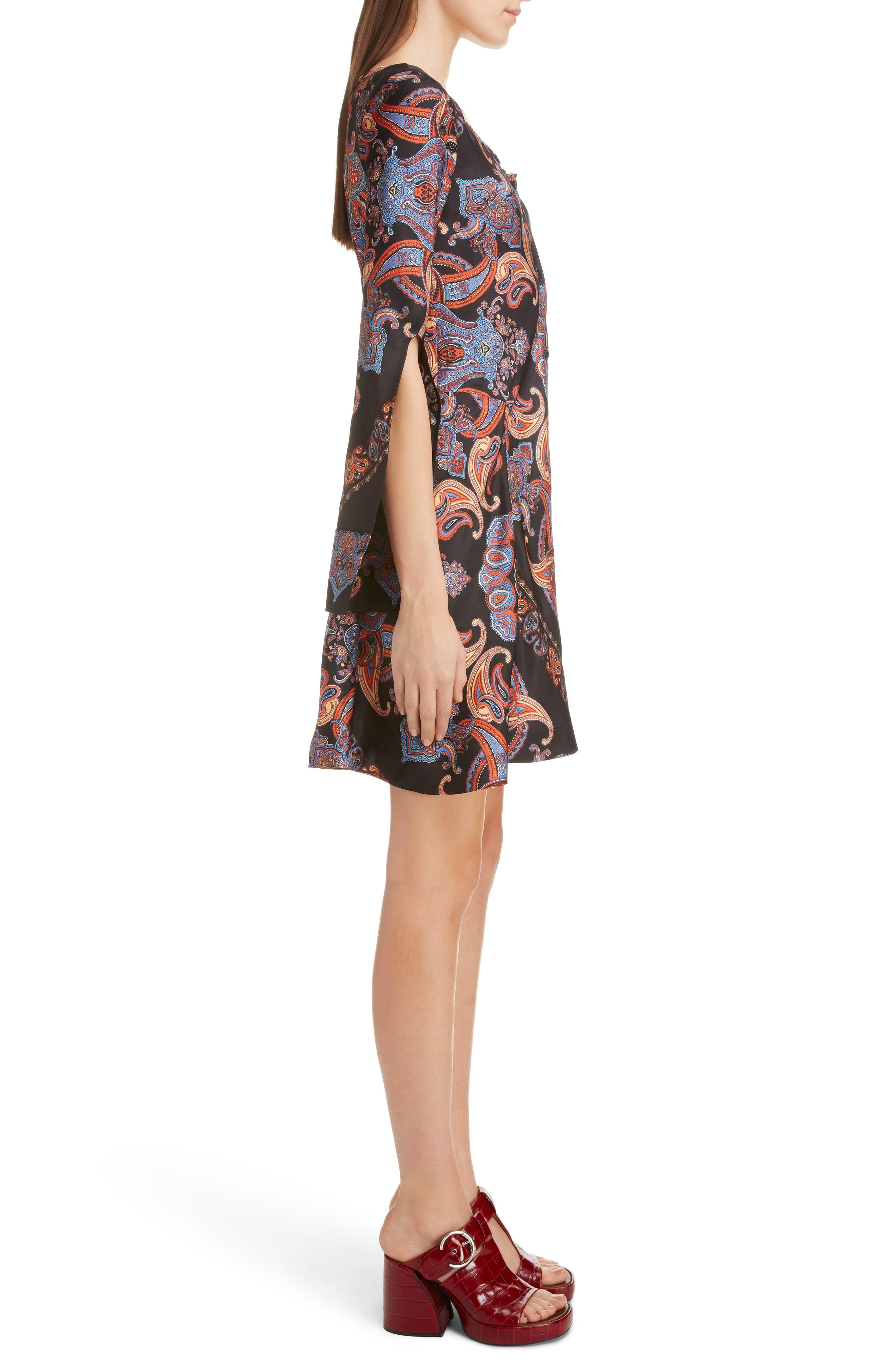 ,                             Persian Print Viscose Twill Minidress,                             Alternate thumbnail 3, color,                             BLACK